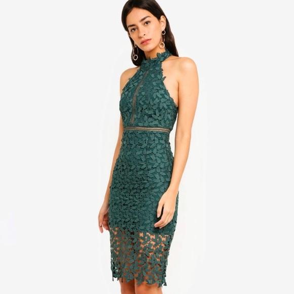 2427c5143fcc Bardot Dresses   Gemma Green Lace Halter Dress   Poshmark